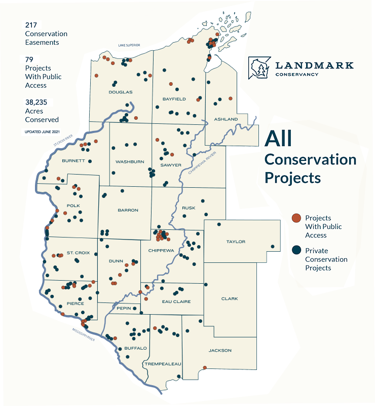 Map showing all Landmark conservation projects