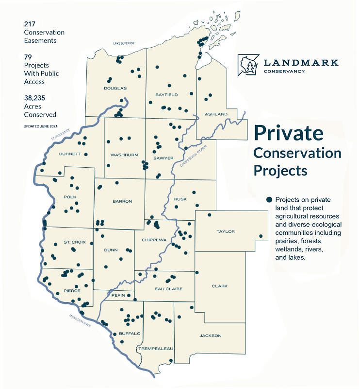 Map showing Private Landmark conservation projects