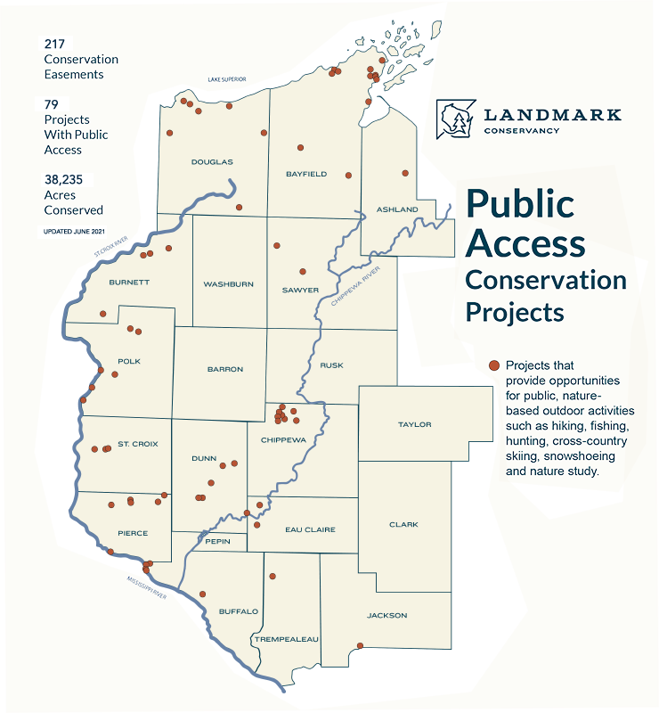 Map showing Public Access Landmark conservation projects