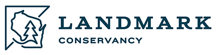 white linear landmark logo