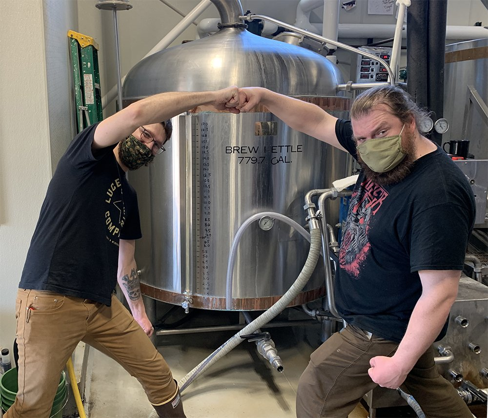 Brewmasters Christian Thompson of Lucette Brewing Company and Ryan Verdon brew their Devil's Punchbowl Beer.