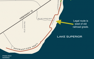 Brownstone Trail: Route Confusion near Blue Wing Bay Road
