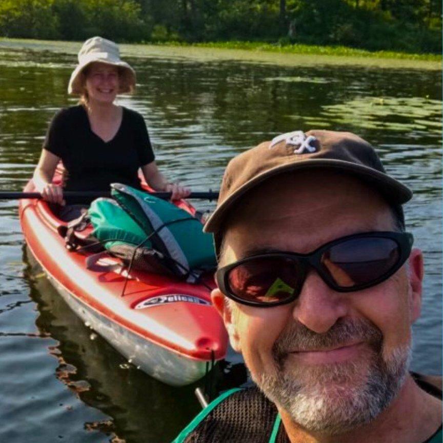 Katie and her partner Michael kayaking.